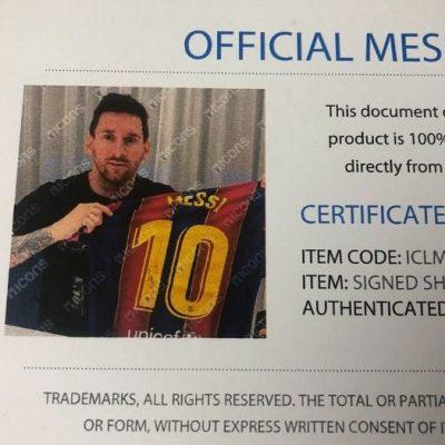 certificado de autenticidad Messi